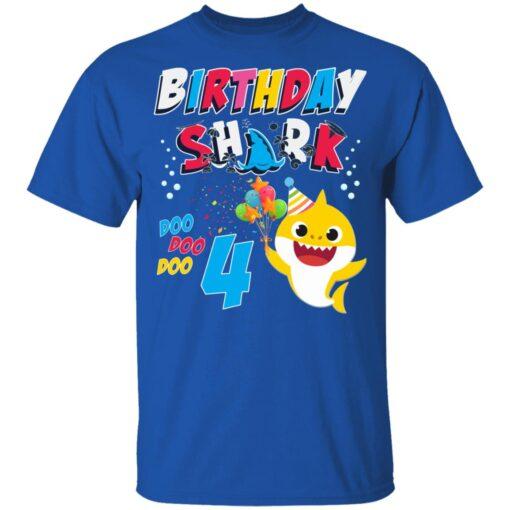 4th Birthday Baby Cute Shark Birthday Boys Girls 4 Years Old T-shirt 5 of Sapelle