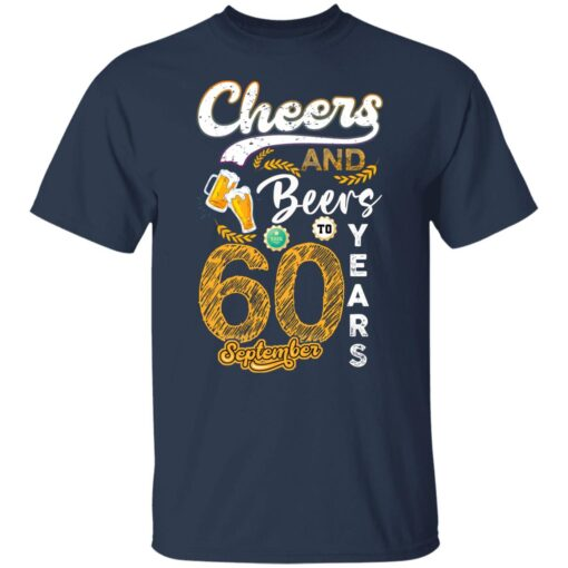 September 1961 60 Years Old Cheers Beer To My 60th Birthday T-Shirt 3 of Sapelle