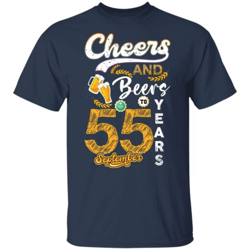 September 1966 55 Years Old Cheers Beer To My 55th Birthday T-Shirt 8 of Sapelle