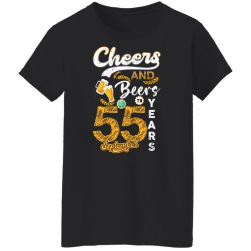 September 1966 55 Years Old Cheers Beer To My 55th Birthday T-Shirt 10 of Sapelle