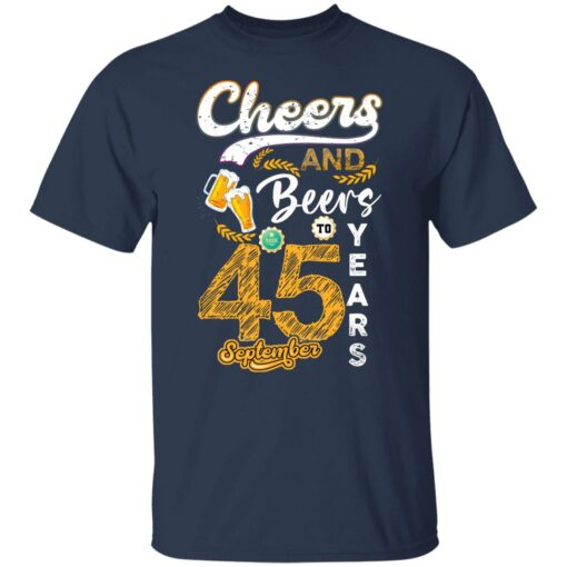 September 1976 45 Years Old Cheers Beer To My 45th Birthday T-Shirt 3 of Sapelle