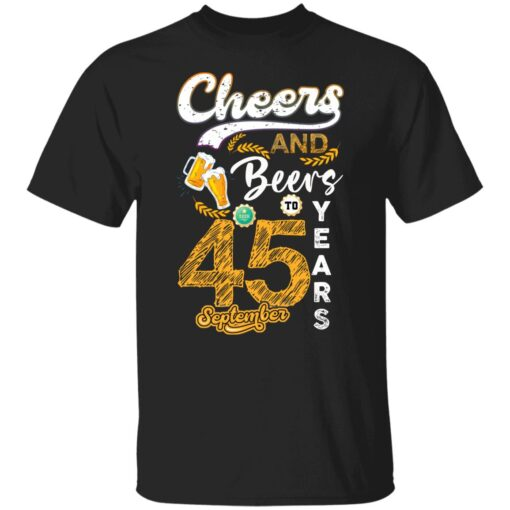 September 1976 45 Years Old Cheers Beer To My 45th Birthday T-Shirt 1 of Sapelle