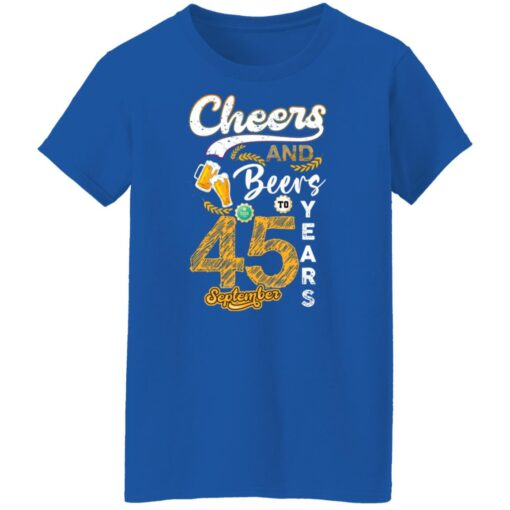 September 1976 45 Years Old Cheers Beer To My 45th Birthday T-Shirt 10 of Sapelle