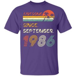 Gift 35 Years Old Awesome Since September 1986 35th Birthday T-Shirt 29 of Sapelle