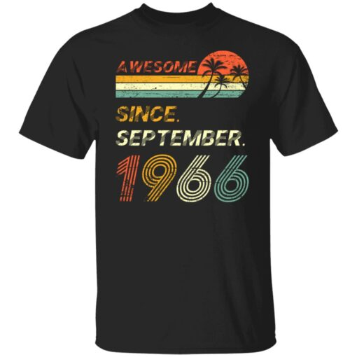 Gift 55 Years Old Awesome Since September 1966 55th Birthday T-Shirt 1 of Sapelle