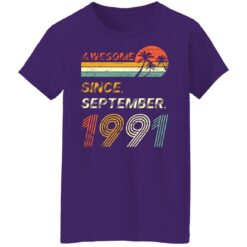 Gift 30 Years Old Awesome Since September 1991 30th Birthday T-Shirt 36 of Sapelle