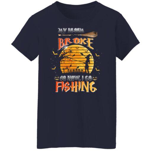 My Broom Broke So Now I Go Fishing Funny Halloween Costume T-Shirt 12 of Sapelle