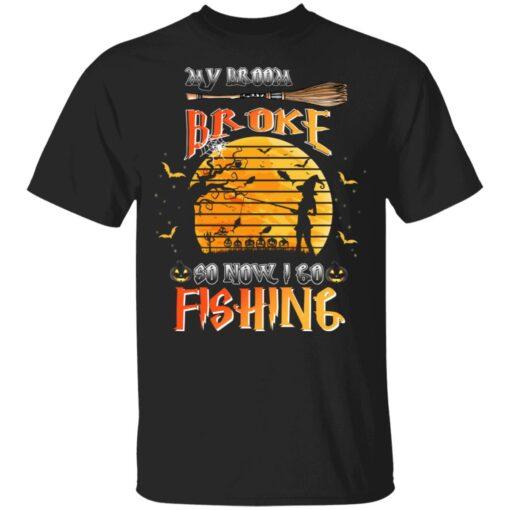 My Broom Broke So Now I Go Fishing Funny Halloween Costume T-Shirt 4 of Sapelle