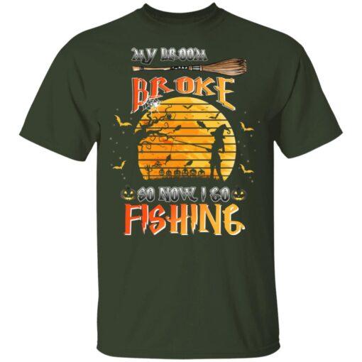 My Broom Broke So Now I Go Fishing Funny Halloween Costume T-Shirt 5 of Sapelle