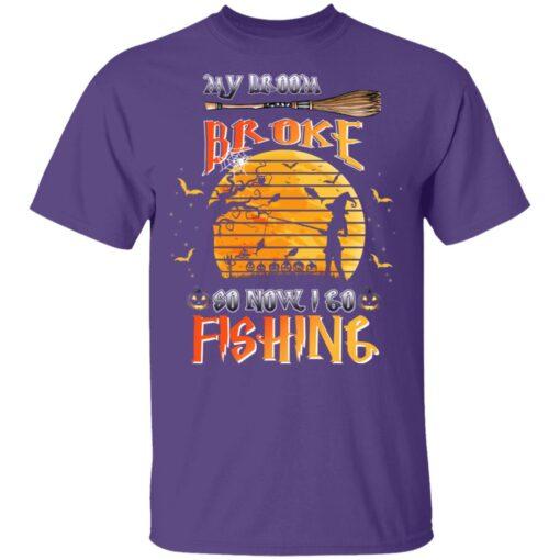 My Broom Broke So Now I Go Fishing Funny Halloween Costume T-Shirt 7 of Sapelle