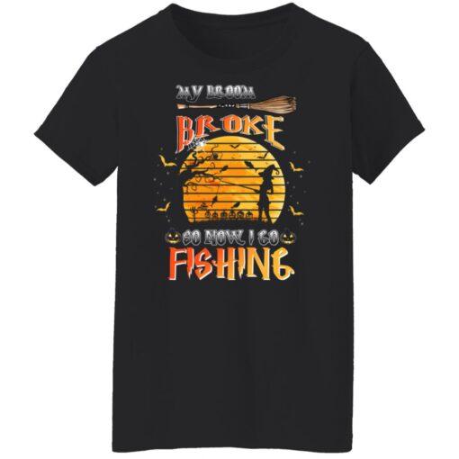 My Broom Broke So Now I Go Fishing Funny Halloween Costume T-Shirt 9 of Sapelle