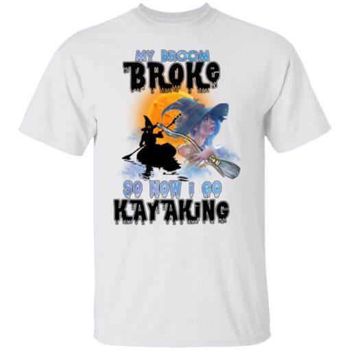 My Broom Broke So Now I Go Kayaking Funny Halloween Costume T-Shirt 1 of Sapelle