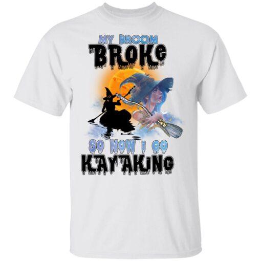 My Broom Broke So Now I Go Kayaking Funny Halloween Costume T-Shirt 7 of Sapelle
