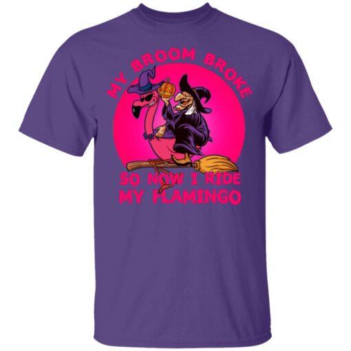 My Broom Broke So Now I Ride My Flamingo Halloween Costume T-Shirt 11 of Sapelle