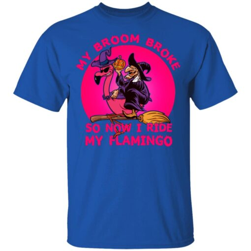 My Broom Broke So Now I Ride My Flamingo Halloween Costume T-Shirt 12 of Sapelle