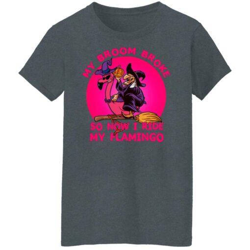 My Broom Broke So Now I Ride My Flamingo Halloween Costume T-Shirt 14 of Sapelle