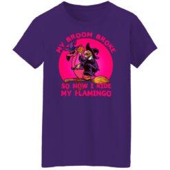 My Broom Broke So Now I Ride My Flamingo Halloween Costume T-Shirt 46 of Sapelle