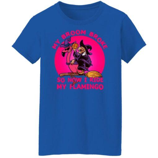 My Broom Broke So Now I Ride My Flamingo Halloween Costume T-Shirt 17 of Sapelle