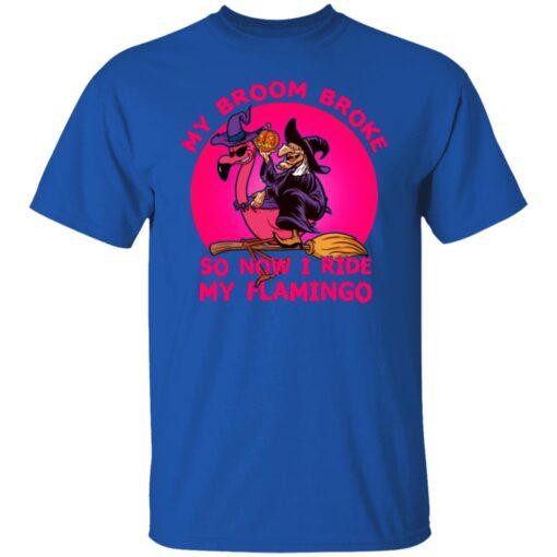 My Broom Broke So Now I Ride My Flamingo Halloween Costume T-Shirt 6 of Sapelle