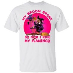 My Broom Broke So Now I Ride My Flamingo Halloween Costume T-Shirt 28 of Sapelle