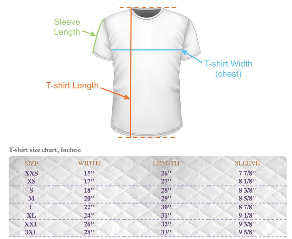 Womens, Mens, Kids T-Shirt size chart