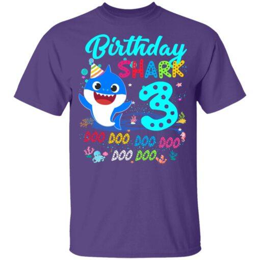 Baby Shark 3rd Birthday Shirt Boys Girls 3 Year Old Birthday T-Shirt 11 of Sapelle