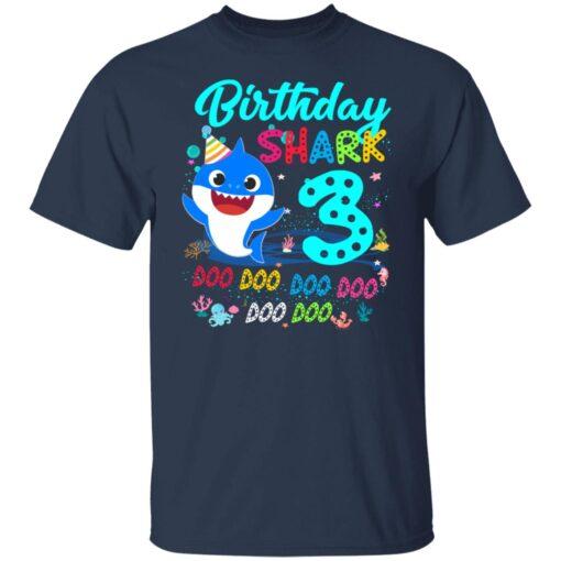 Baby Shark 3rd Birthday Shirt Boys Girls 3 Year Old Birthday T-Shirt 4 of Sapelle