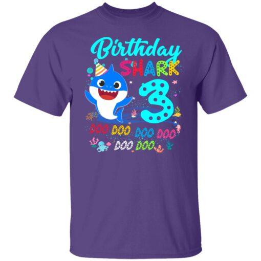 Baby Shark 3rd Birthday Shirt Boys Girls 3 Year Old Birthday T-Shirt 5 of Sapelle