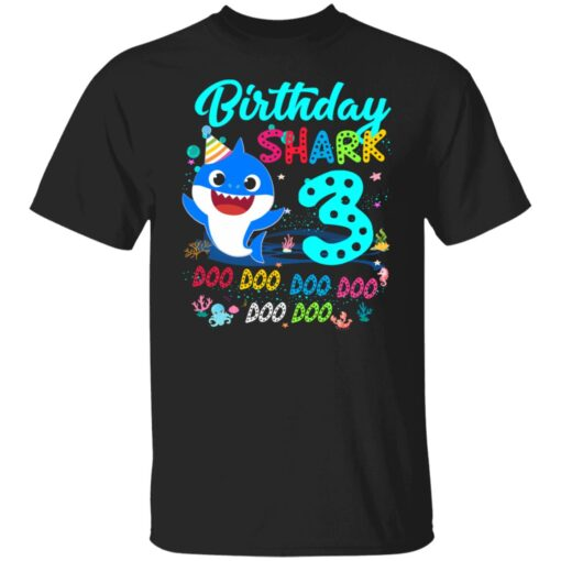 Baby Shark 3rd Birthday Shirt Boys Girls 3 Year Old Birthday T-Shirt 1 of Sapelle