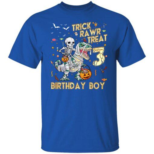 Trick Rawr Treat Skeleton Dinosaur Halloween 3rd Birthday T-Shirt 6 of Sapelle