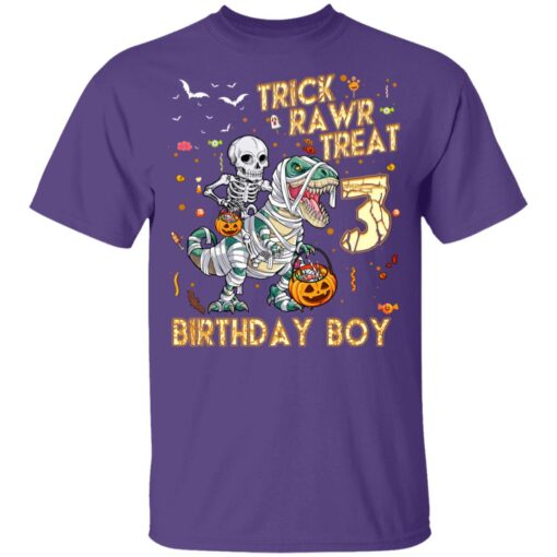Trick Rawr Treat Skeleton Dinosaur Halloween 3rd Birthday T-Shirt 11 of Sapelle