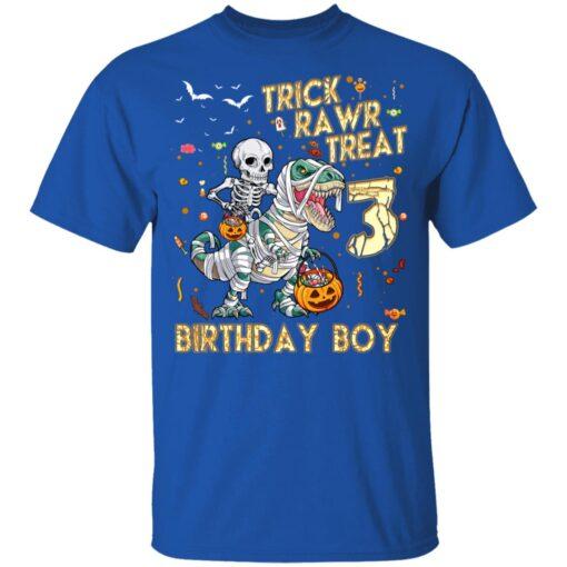 Trick Rawr Treat Skeleton Dinosaur Halloween 3rd Birthday T-Shirt 12 of Sapelle