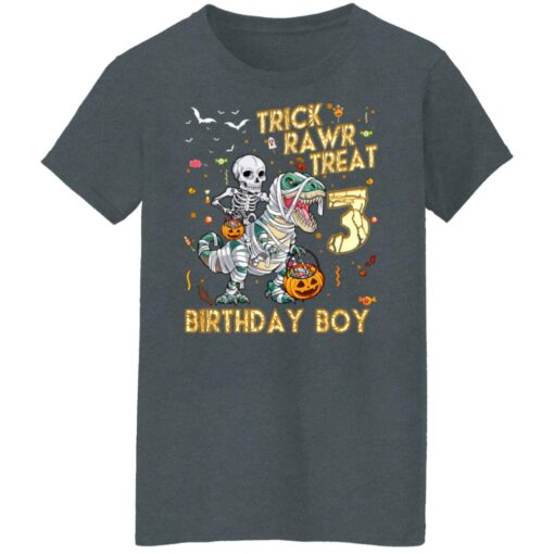Trick Rawr Treat Skeleton Dinosaur Halloween 3rd Birthday T-Shirt 14 of Sapelle