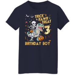 Trick Rawr Treat Skeleton Dinosaur Halloween 3rd Birthday T-Shirt 47 of Sapelle