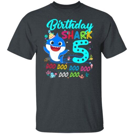 Baby Shark 5th Birthday Shirt Boys Girls 5 Year Old Birthday T-Shirt 2 of Sapelle