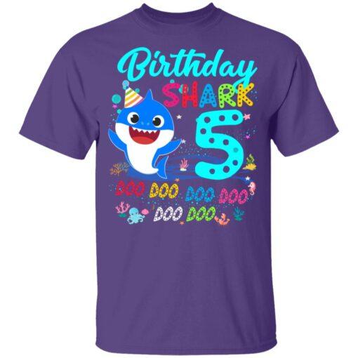 Baby Shark 5th Birthday Shirt Boys Girls 5 Year Old Birthday T-Shirt 11 of Sapelle