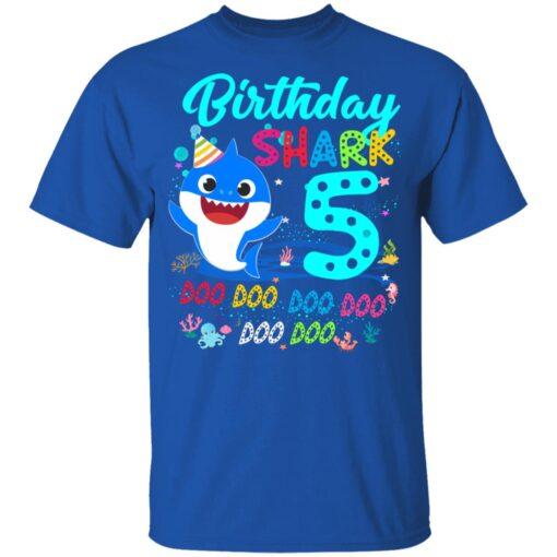 Baby Shark 5th Birthday Shirt Boys Girls 5 Year Old Birthday T-Shirt 12 of Sapelle
