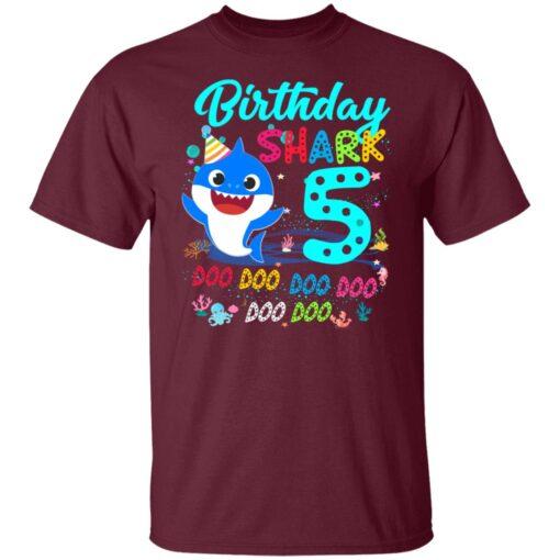 Baby Shark 5th Birthday Shirt Boys Girls 5 Year Old Birthday T-Shirt 3 of Sapelle