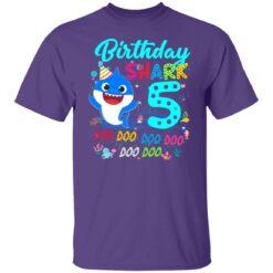 Baby Shark 5th Birthday Shirt Boys Girls 5 Year Old Birthday T-Shirt 25 of Sapelle