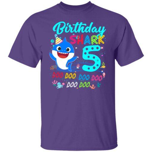 Baby Shark 5th Birthday Shirt Boys Girls 5 Year Old Birthday T-Shirt 5 of Sapelle