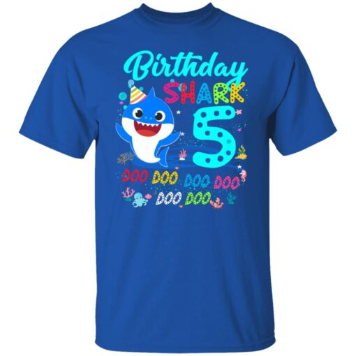 Baby Shark 5th Birthday Shirt Boys Girls 5 Year Old Birthday T-Shirt 6 of Sapelle