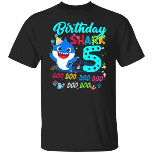 Baby Shark 5th Birthday Shirt Boys Girls 5 Year Old Birthday T-Shirt 1 of Sapelle