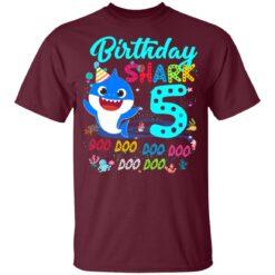 Baby Shark 5th Birthday Shirt Boys Girls 5 Year Old Birthday T-Shirt 33 of Sapelle