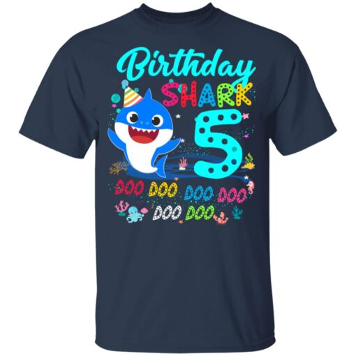 Baby Shark 5th Birthday Shirt Boys Girls 5 Year Old Birthday T-Shirt 10 of Sapelle