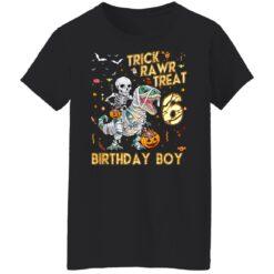 Trick Rawr Treat Skeleton Dinosaur Halloween 6th Birthday T-Shirt 41 of Sapelle