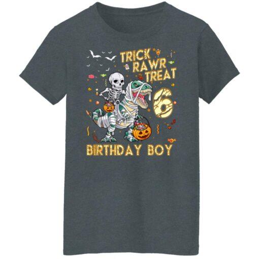 Trick Rawr Treat Skeleton Dinosaur Halloween 6th Birthday T-Shirt 14 of Sapelle