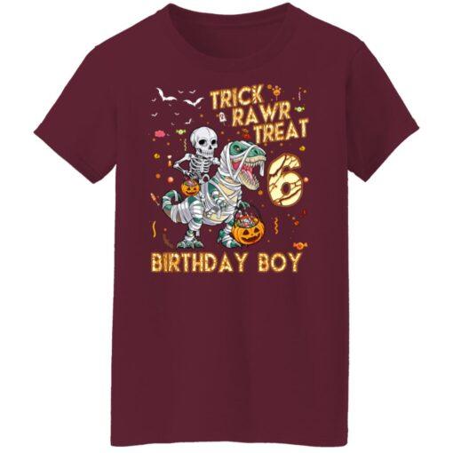 Trick Rawr Treat Skeleton Dinosaur Halloween 6th Birthday T-Shirt 15 of Sapelle