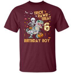 Trick Rawr Treat Skeleton Dinosaur Halloween 6th Birthday T-Shirt 21 of Sapelle