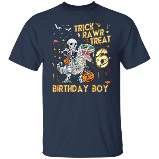 Trick Rawr Treat Skeleton Dinosaur Halloween 6th Birthday T-Shirt 4 of Sapelle