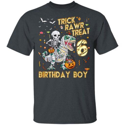 Trick Rawr Treat Skeleton Dinosaur Halloween 6th Birthday T-Shirt 8 of Sapelle